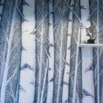 carta da parati Birches a tema naturalistico DeSign tronchi bianchi atmosfera rilassante